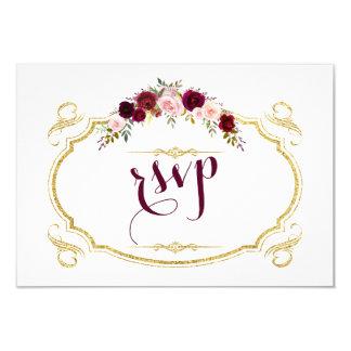 Chic Burgundy Marsala blom- nedgångbröllop OSA 8,9 X 12,7 Cm Inbjudningskort