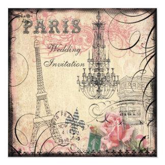 Chic Eiffel torn- & ljuskronabröllop Fyrkantigt 13,3 Cm Inbjudningskort