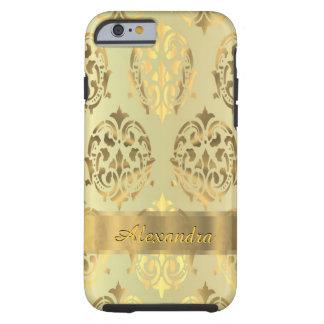 Chic elegant guld- damast för personlig tough iPhone 6 fodral