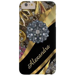 Chic elegant guld- rhinestone för personlig som barely there iPhone 6 plus skal