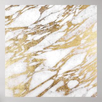 Chic elegant vit och guld- marmormönster poster