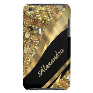 Chic elegantsvart och bling personlig för guld barely there iPod skydd