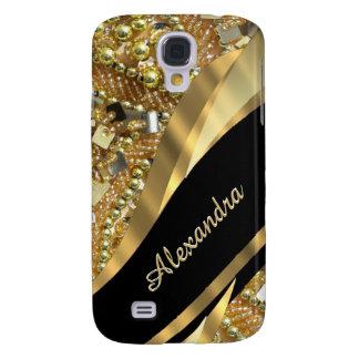 Chic elegantsvart och bling personlig för guld galaxy s4 fodral