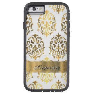 Chic elegantt guld för personlig och vitdamast tough xtreme iPhone 6 case