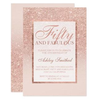 Chic femtio för rosa guld- glitter för Faux 12,7 X 17,8 Cm Inbjudningskort