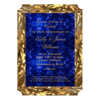 chic för safir för blått för 65ebröllopsdag guld- 12,7 x 17,8 cm inbjudningskort