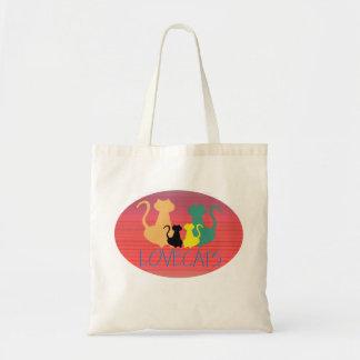Chic för Silhouette för kattfamilj färgrik ljus Tygkasse