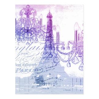 chic franskt purpurfärgat ljuskronaparis eiffel vykort