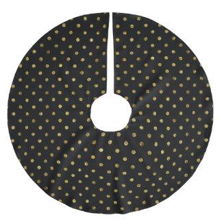 Chic guld- Glam och svart pricker Julgransmatta Borstad Polyester