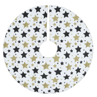 Chic guld- Glam och svart stjärnor Julgransmatta Borstad Polyester