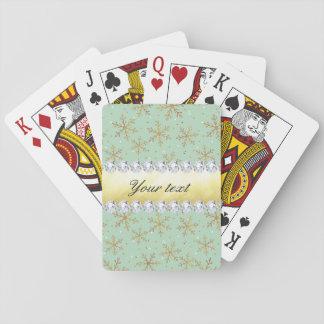 Chic guld- snöflingor- och diamantblek - grönt spelkort
