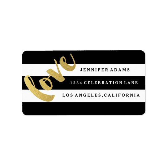 Chic guld- svart randadressetiketter för KÄRLEK   Adressetikett