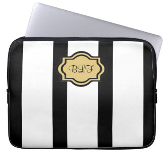 chic ipad sleeve, kakki-/blackstripes/monogram laptop sleeve