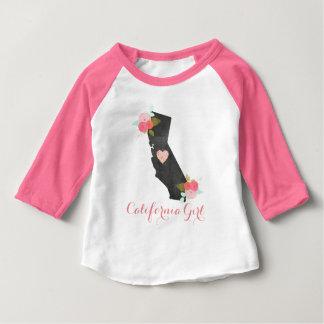 Chic Kalifornien statlig & rörlig hjärtaflicka T Shirt