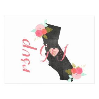 Chic Kalifornien statligt blom- bröllop OSA Vykort
