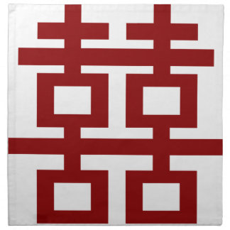 Chic kinesiskt bröllop för rött dubbelt tygservett