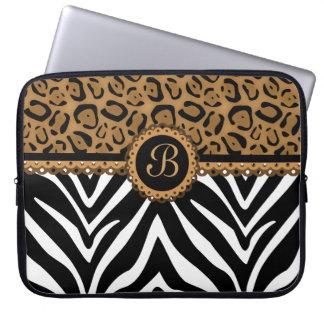 Chic laptop sleeve för Monogram för sebraLeopardsn Laptop Datorskydd