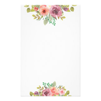 Chic lila- & rosablommigt brevpapper