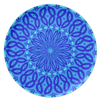 Chic Mandala för aqua- och blåttKaleidoscopeglöd Tallrik