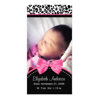 Chic meddelande för födelse för foto för Leopardtr Fotokort