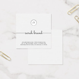 Chic Minimalist Monogram Fyrkantigt Visitkort