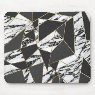 Chic modern guld- marmor och svart geometriskt musmatta