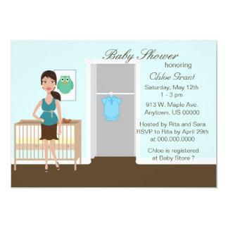Chic modern mamma i barnkammarebaby showerinbjudan 12,7 x 17,8 cm inbjudningskort