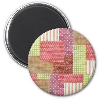 Chic mönster Quiltblocks för landPatchwork Magnet