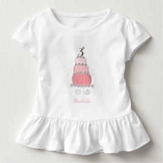 Chic nyckfull rosa tårtaflicka 3rd födelsedagsfest tee shirts