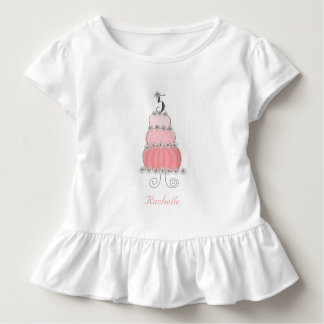 Chic nyckfull rosa tårtaflicka 5th födelsedagsfest t shirt