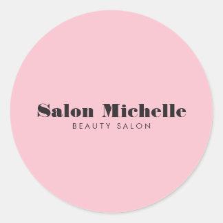 Chic och Minimalist rosa skönhetsalong Runt Klistermärke
