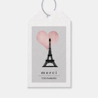 Chic Paris Eiffel torn med rosa guld- hjärta Merci Presentetikett