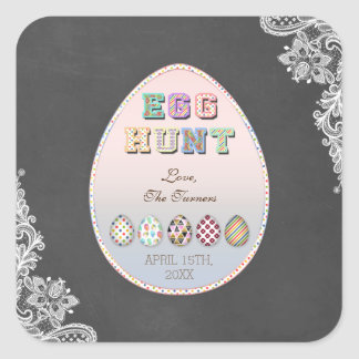 Chic party för jakt för påskägg för svart tavla fyrkantigt klistermärke