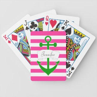 Chic personifierat nautiskt ankrar att leka kort spelkort