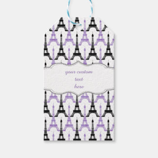 Chic purpurfärgade märkre för gåva för Paris Presentetikett