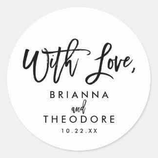 Chic räcker märkt bröllop med kärlekfavöretiketten runt klistermärke