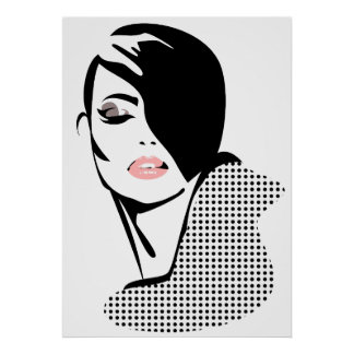 Chic retro pricker modeflickan poster