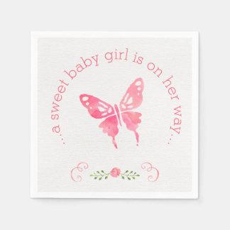 Chic rosa baby shower för vattenfärgfjärilsflicka papper servett