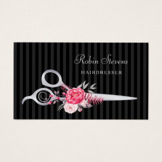 Chic rosa blom- sax för frisörFauxsilver Visitkort
