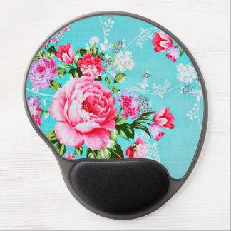 Chic rosa blommigt för vintage gel musmatta