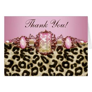 Chic rosa Leopardtackkort Hälsningskort