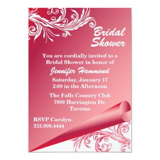 Chic rosa- & vitinbjudningskort för möhippan 12,7 x 17,8 cm inbjudningskort
