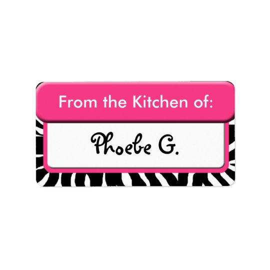 """Chic rosa zebra tryck """"från kök av"""" etiketter adressetikett"""