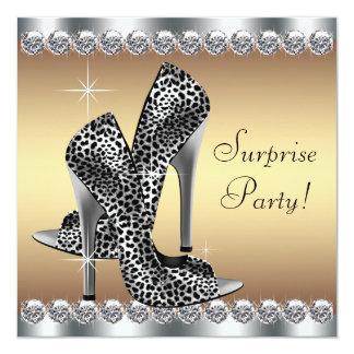 Chic silver- och guldkvinna födelsedag för fyrkantigt 13,3 cm inbjudningskort