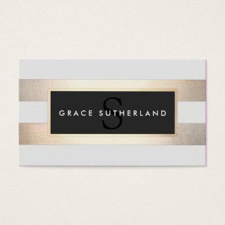 Chic stilfullt FAUXguld och randig Monogram för Set Av Standard Visitkort