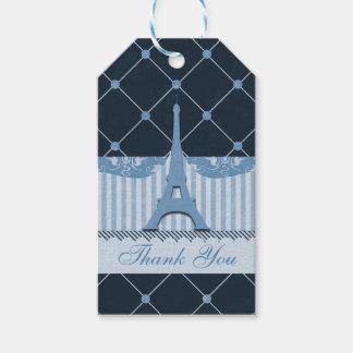 Chic tack för blåttEiffel torn Presentetikett