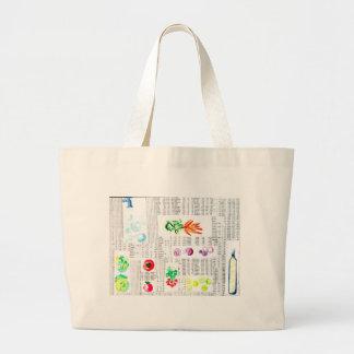 chic tidnings- och veggiesvattenfärgilustration jumbo tygkasse