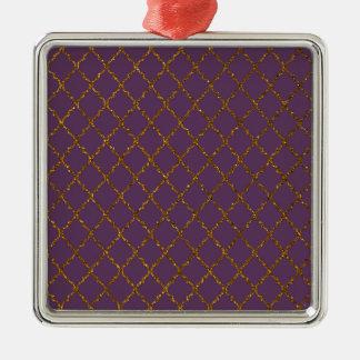 Chic tryck för Burgundy Quatrefoil guld- Silverfärgad Fyrkantigt Julgransprydnad