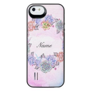 Chic vattenfärgsuckulentkran iPhone SE/5/5s batteri skal