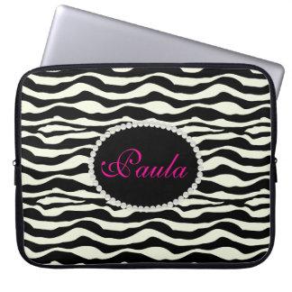 Chic zebra tryck med Monogramlaptop sleeve